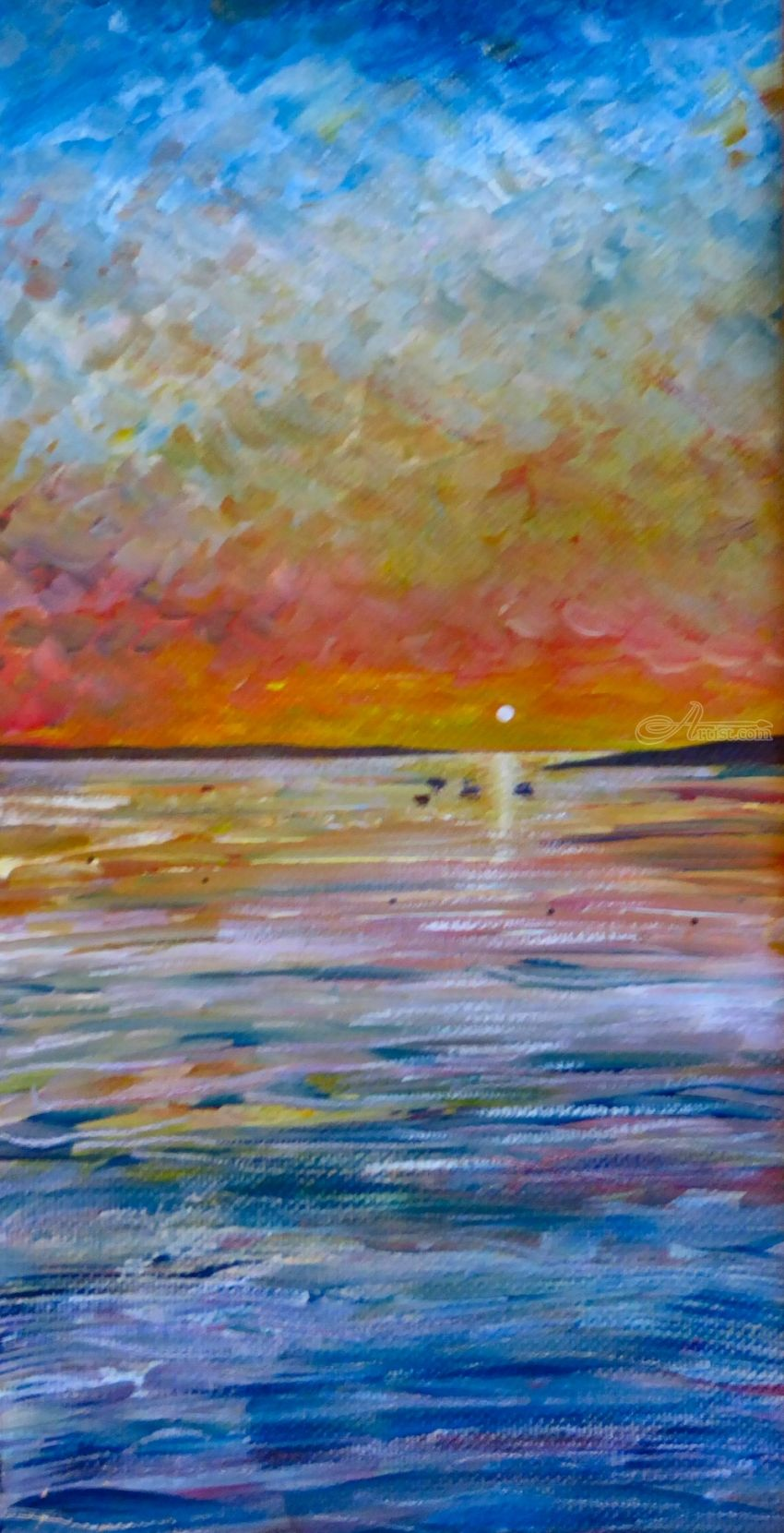 Evening Sun, Paintings, Fine Art, Impressionism, Realism, Seascape, Acrylic, Painting, By Matthew David Evans