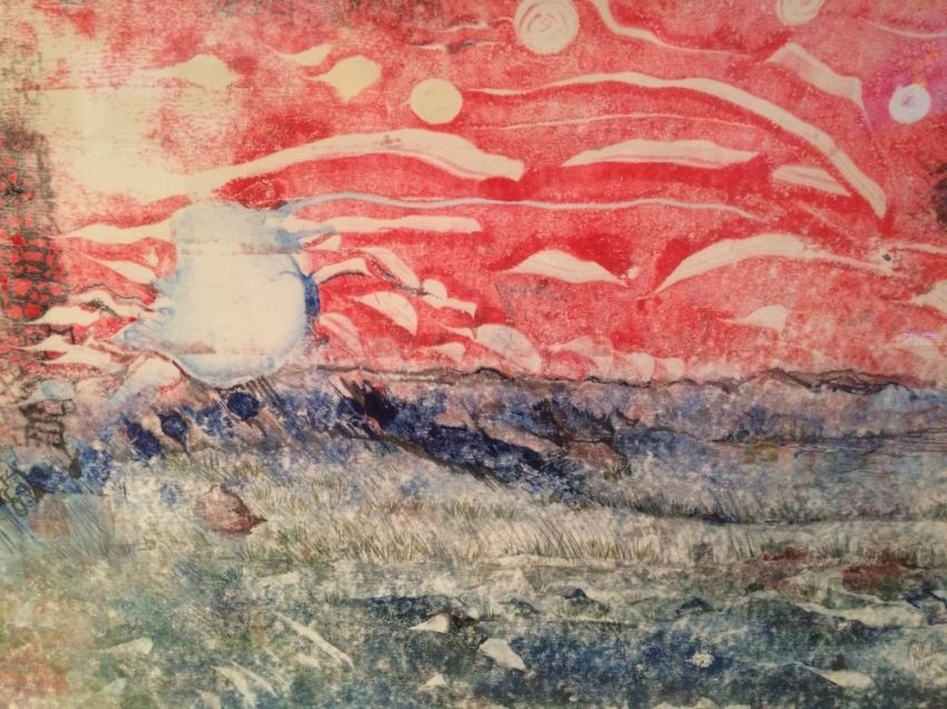 Expressionism Sky Fall in Reds painting 2 of 2 sequential monoprints, Paintings,Paper Art, Abstract,Expressionism, Avant-Garde, Ink, By Joseph Culotta