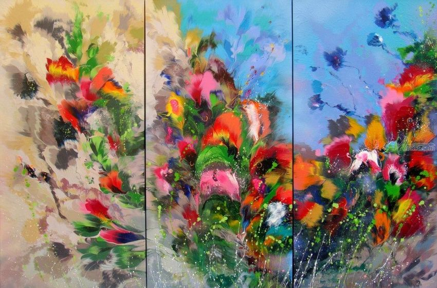 "EXTRA LARGE Triptych ""Spring melody"", Paintings, Abstract, Botanical, Fantasy, Floral, Landscape, Nature, Acrylic, Canvas, By Irini Karpikioti"