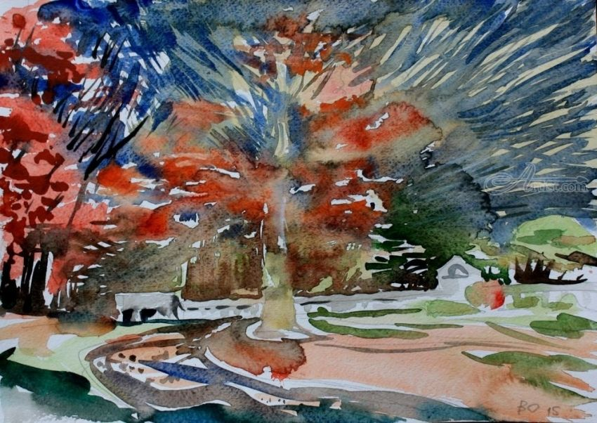 Fall in Massachusetts. 1, Paintings, Expressionism, Landscape, Watercolor, By Victor Ovsyannikov
