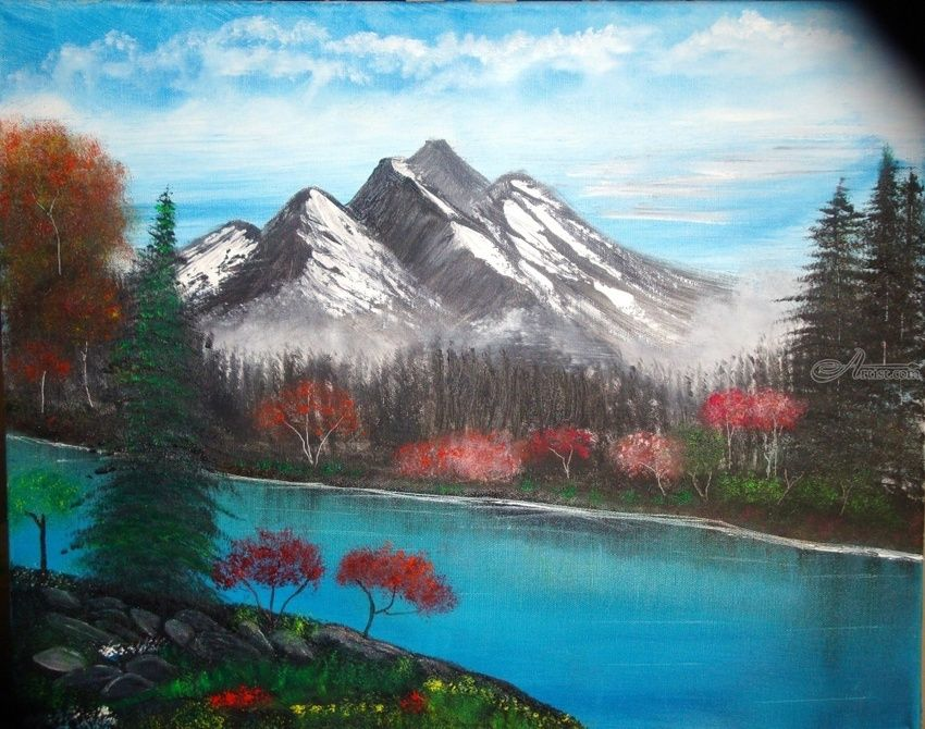 Fall in the Mountain, Paintings, Fine Art, Landscape, Canvas,Oil,Painting, By Lana karin Fultz