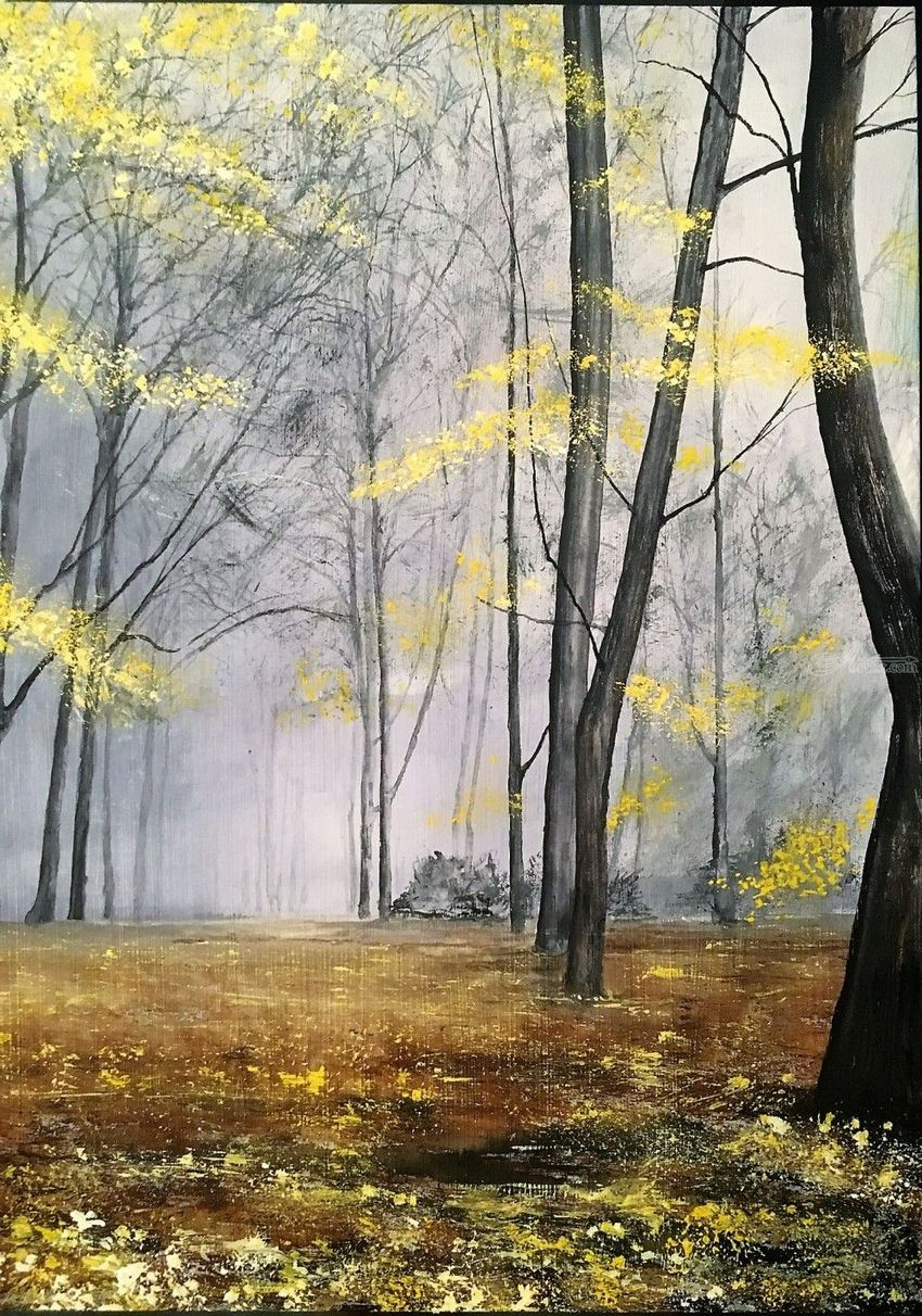 Falling Yellow, Paintings, Impressionism, Landscape, Watercolor, By Stephen Keller