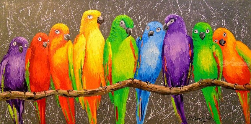 Family parrots, Paintings, Impressionism, Animals, Canvas, Oil, Painting, By Olha   Vyacheslavovna Darchuk