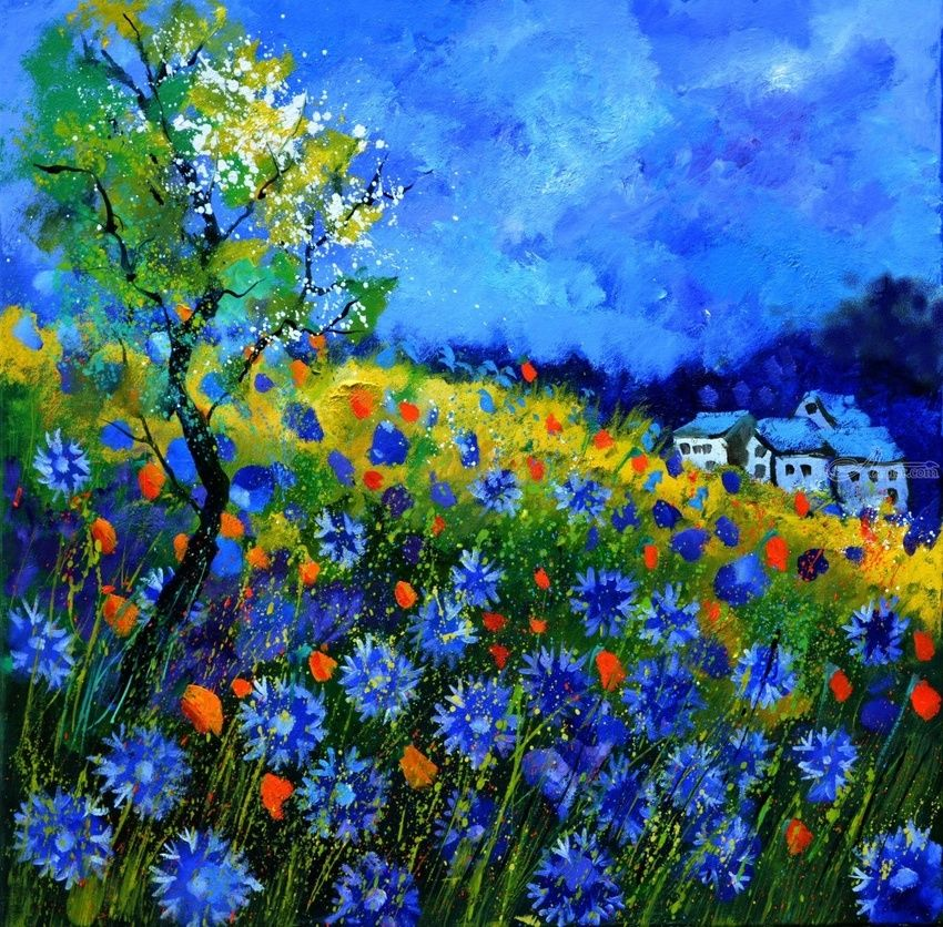 Field flowers 77623, Paintings, Expressionism, Landscape, Canvas, By Pol Henry Ledent