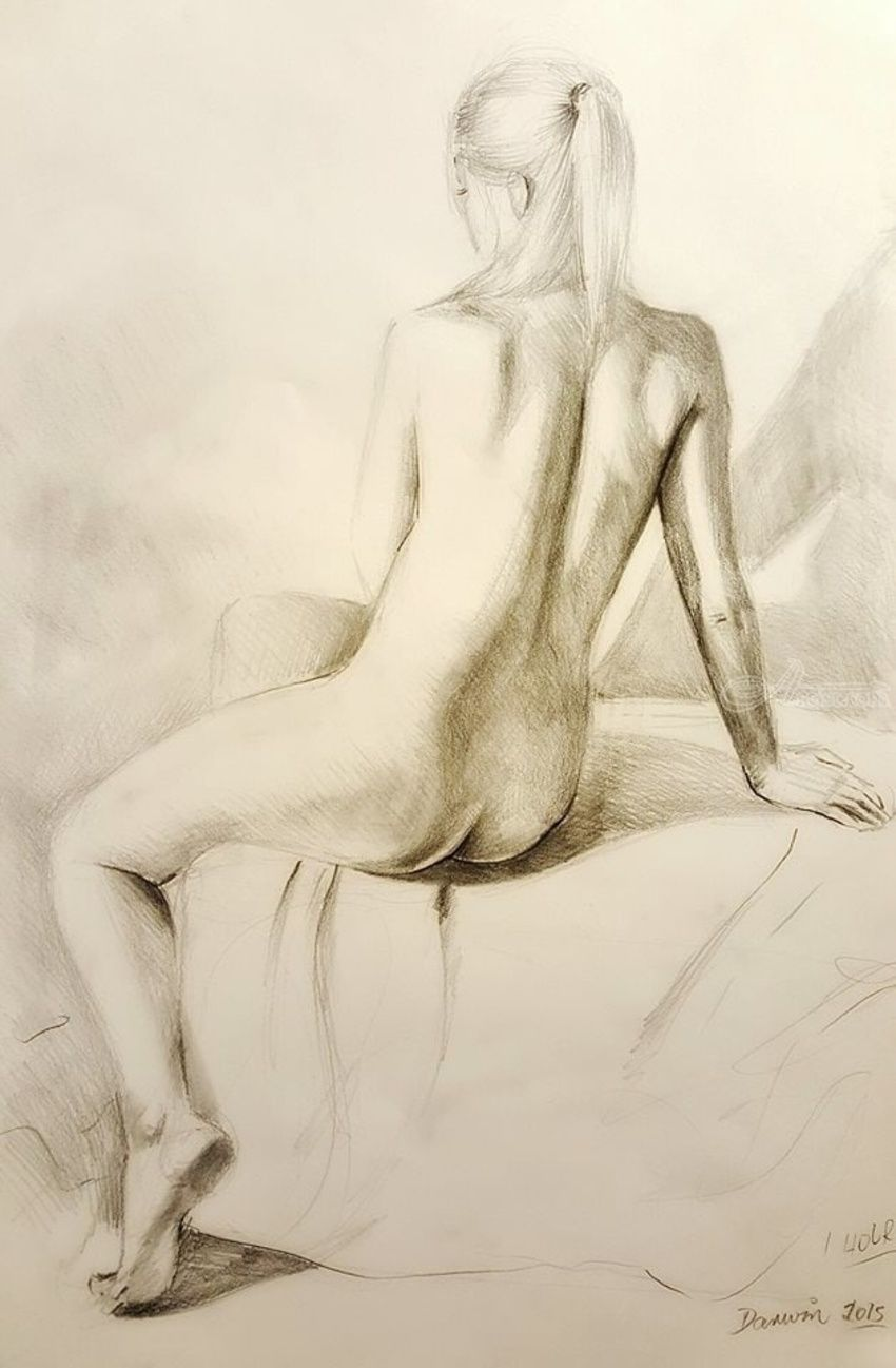 Figure live study drawing, Drawings / Sketch, Realism, Analytical art, Anatomy, Composition, Erotic, Figurative, Nudes, Pencil, By Darwin Leon
