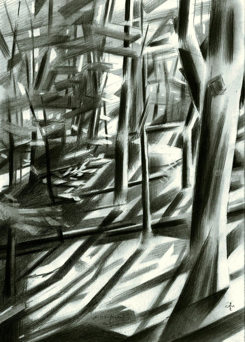 Filosofendal (Valley of the Philosophers) - 20-10-15, Drawings / Sketch, Abstract,Cubism,Fine Art,Impressionism,Realism,Surrealism, Composition,Figurative,Inspirational,Landscape,Nature, Pencil, By Corne Akkers