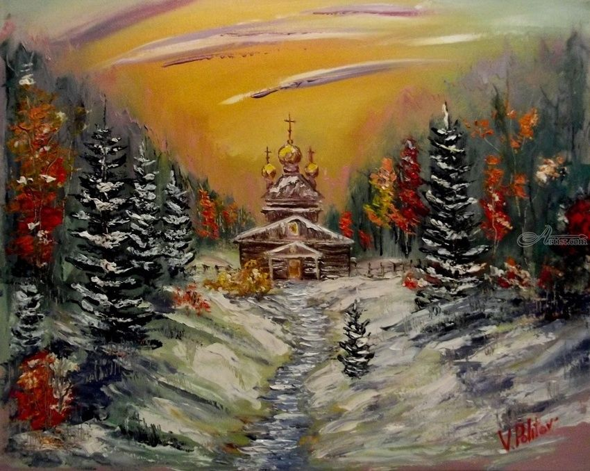 First Snow, Paintings, Impressionism, Landscape, Canvas,Oil,Painting, By Valeriy Politov