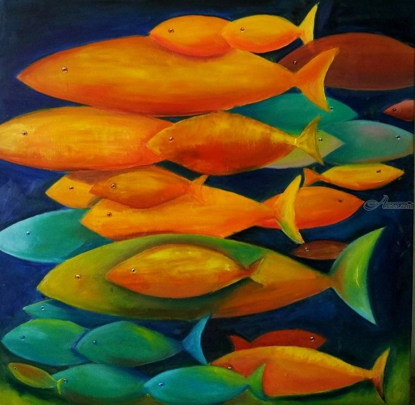 Fishes, Paintings, Minimalism,Modernism, Animals,Botanical,Decorative,Figurative,The Primative, Canvas,Oil, By Anastasia Salo