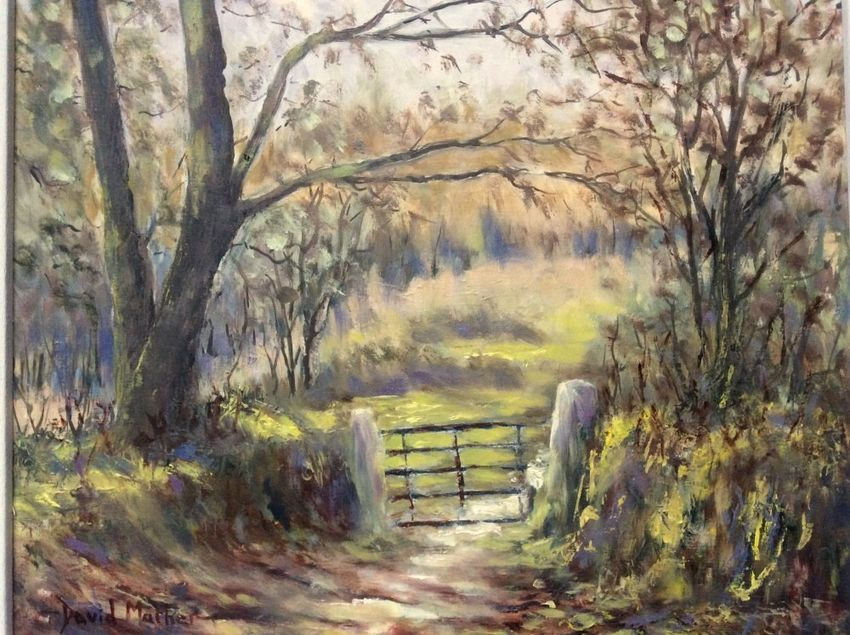 Five bar gate, Paintings, Impressionism, Landscape, Oil, By David Mather