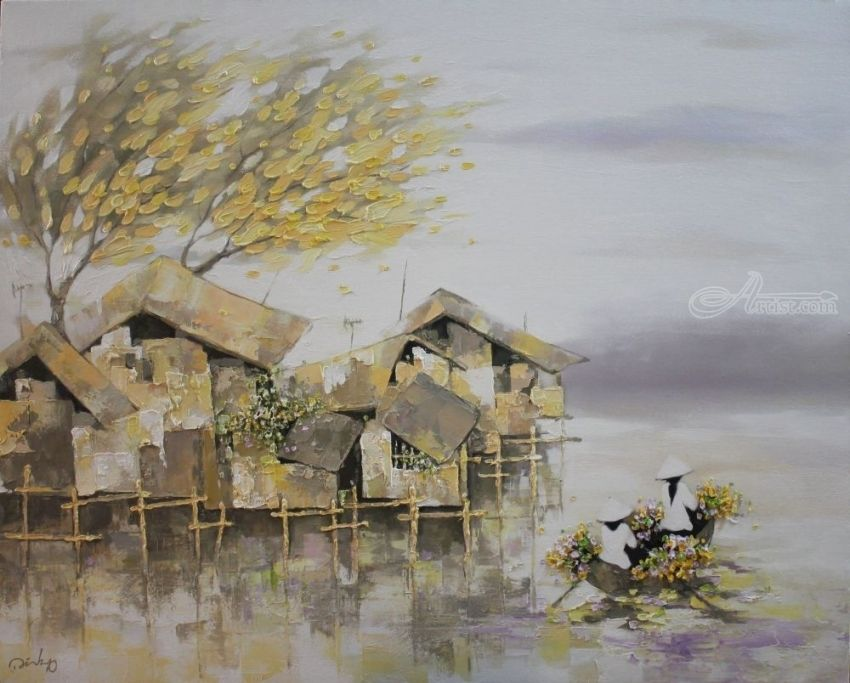 Flower boat, Decorative Arts,Paintings, Fine Art,Realism,Romanticism, Decorative,Fantasy,Landscape,People, Canvas,Oil, By Ninh NguyenVu
