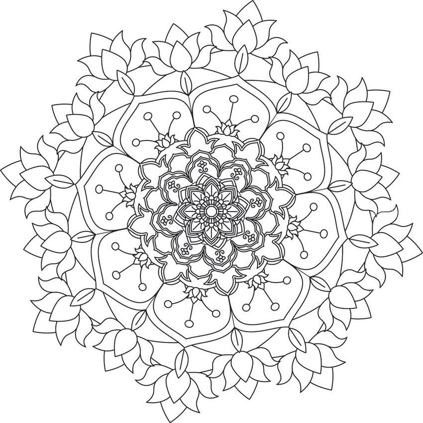 Flower Mandala. Vintage decorative elements. Oriental pattern ...