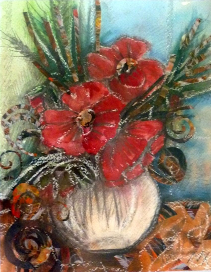 Flowers, Collage, Paintings, Realism, Botanical, Mixed, Painting, Watercolor, By Maria Hristova Koleva