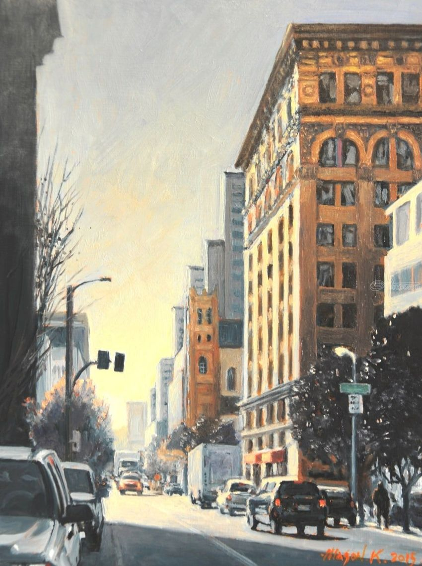 Folsom Street, Paintings, Impressionism, Cityscape, Canvas, Oil, By Mason Mansung Kang