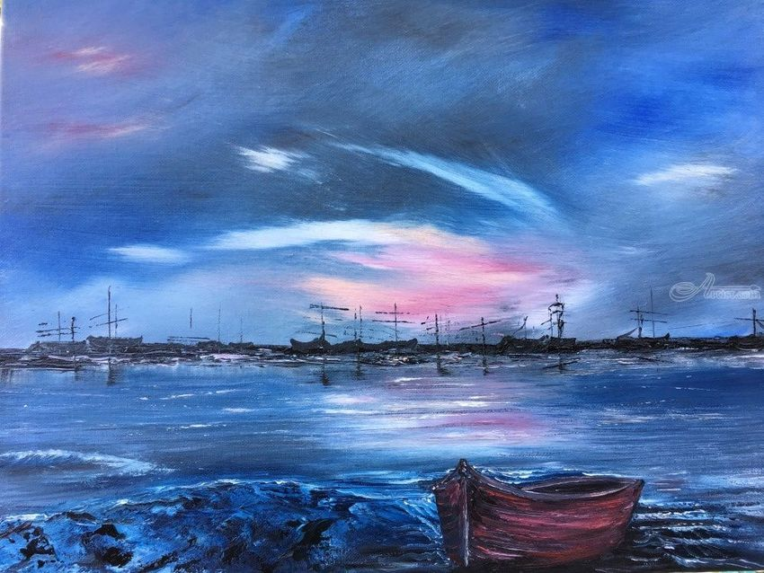 Forgotten boats, Paintings, Fine Art, Seascape, Acrylic, By victoria osley