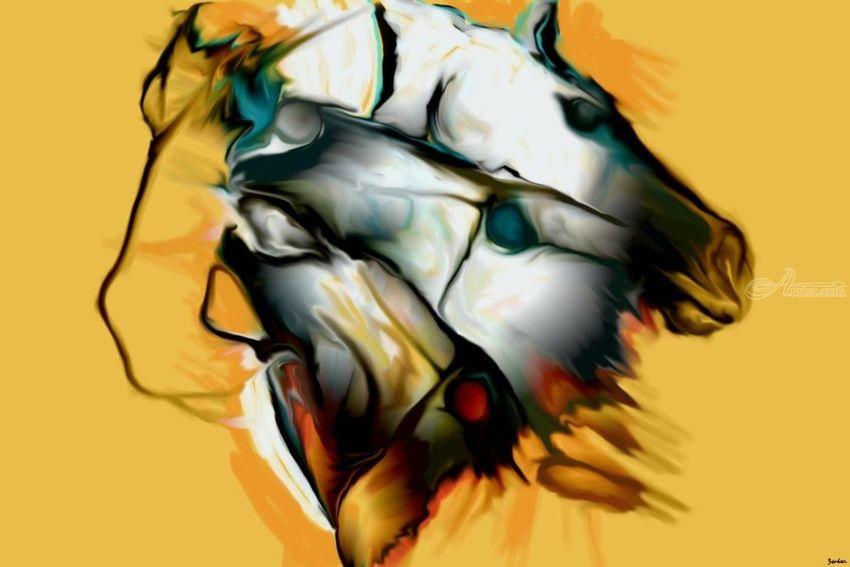 four horses Digital Art / Computer Art by Nebojsa Strbac - Artist.com