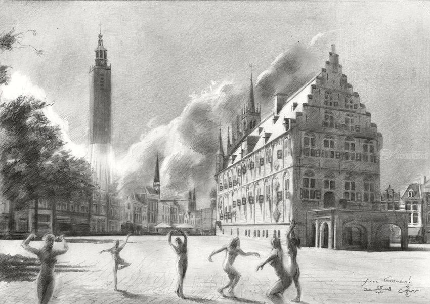 Free Gouda! – 25-08-18, Drawings / Sketch, Surrealism, Anatomy, Cityscape, Dance, Figurative, Inspirational, Landscape, Nudes, Pencil, By Corne Akkers