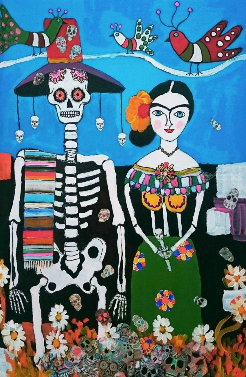 Frida Day Of The Dead Folk Art Paintings Expressionism Figurative Religious