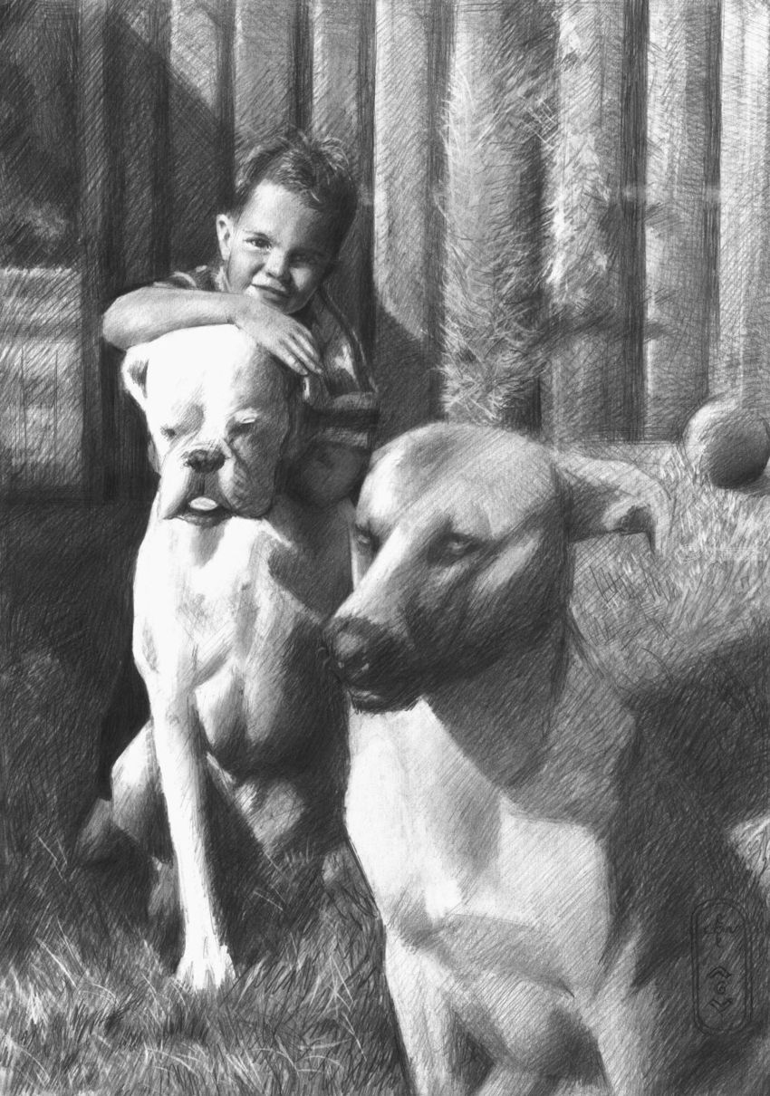 Friends – 29-07-20 (sold), Drawings / Sketch, Fine Art, Impressionism, Realism, Animals, Composition, Figurative, Inspirational, People, Pencil, By Corne Akkers