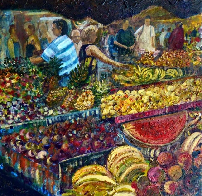 Fruit Market, Paintings, Realism, Figurative, Acrylic, Canvas, Painting, By Matthew David Evans