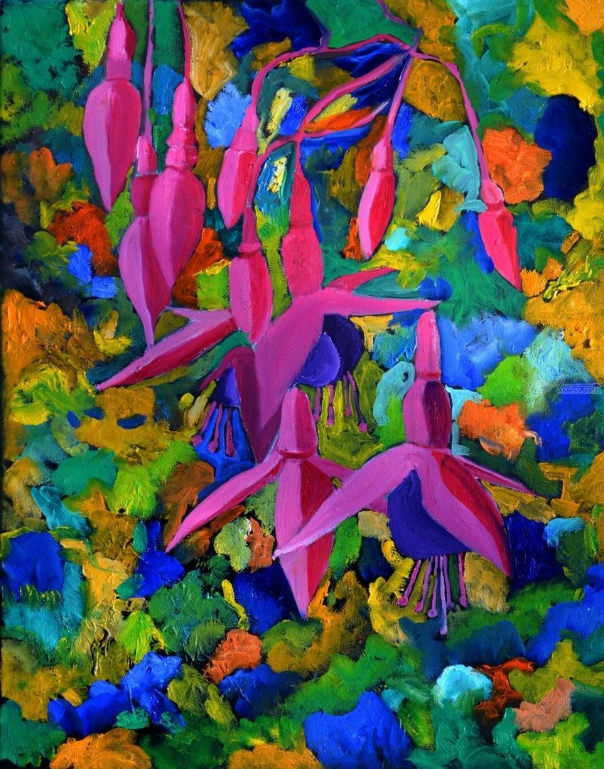 Fuscia 4561, Paintings, Expressionism, Botanical, Canvas, By Pol Henry Ledent
