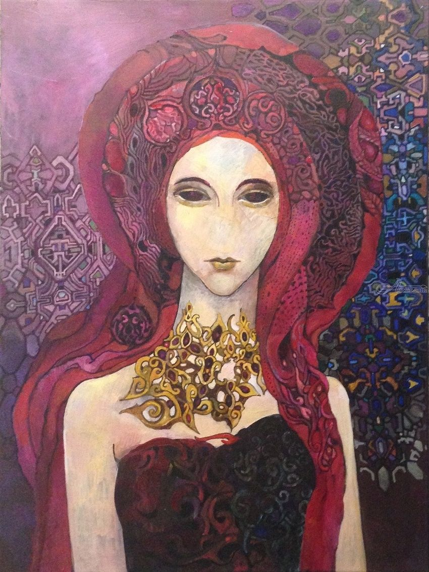 Garnet stone, Paintings, Fine Art, Surrealism, Symbolism, Decorative, Fantasy, Furniture, Inspirational, People, Canvas, By olga zelinska