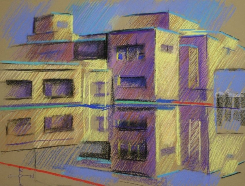 Gemeentemuseum 03 (2014), Drawings / Sketch, Abstract, Cubism, Fine Art, Impressionism, Architecture, Cityscape, Composition, Figurative, Inspirational, Landscape, Pastel, By Corne Akkers