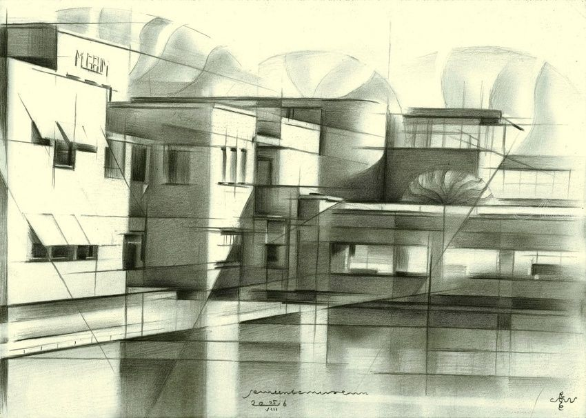 Gemeentemuseum - 05-08-16, Drawings / Sketch, Abstract, Cubism, Fine Art, Impressionism, Realism, Architecture, Cityscape, Composition, Figurative, Landscape, Pencil, By Corne Akkers