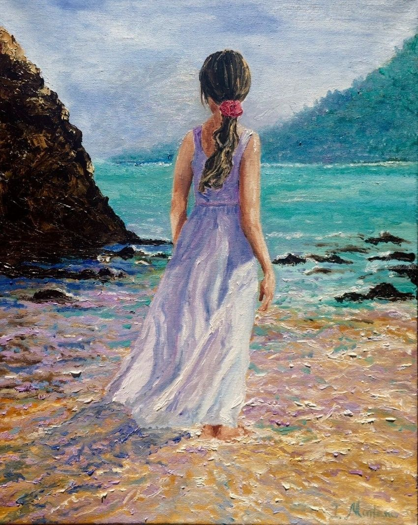 Girl at the beach, Paintings, Impressionism, Figurative, Oil, By Inna Montano