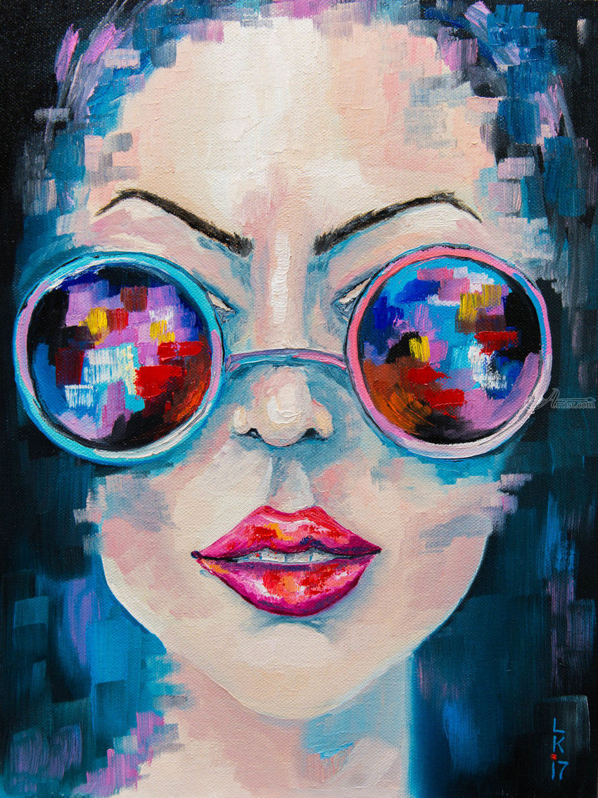 GIRL IN SUNGLASSES, Paintings, Abstract, People, Canvas, Oil, By Liubov Kuptsova