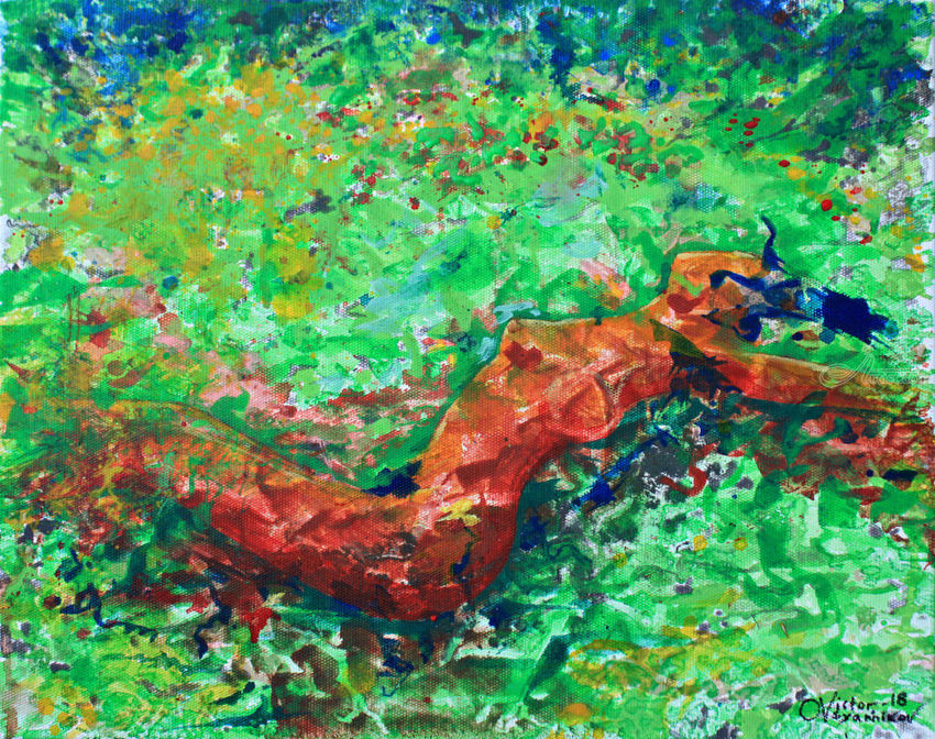 Girl in the meadow, Paintings, Expressionism, Nudes, Acrylic, Canvas, By Victor Ovsyannikov