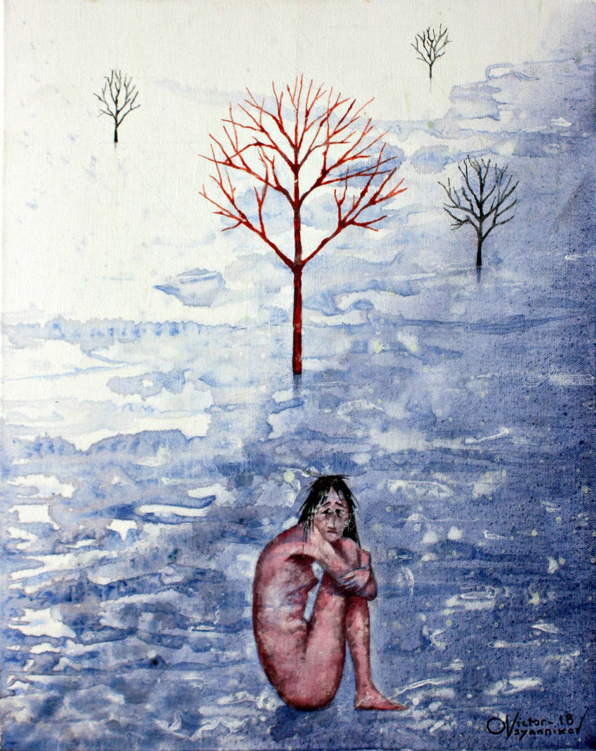 Girl in the snow, Paintings, Surrealism, Landscape, Acrylic, Canvas, By Victor Ovsyannikov