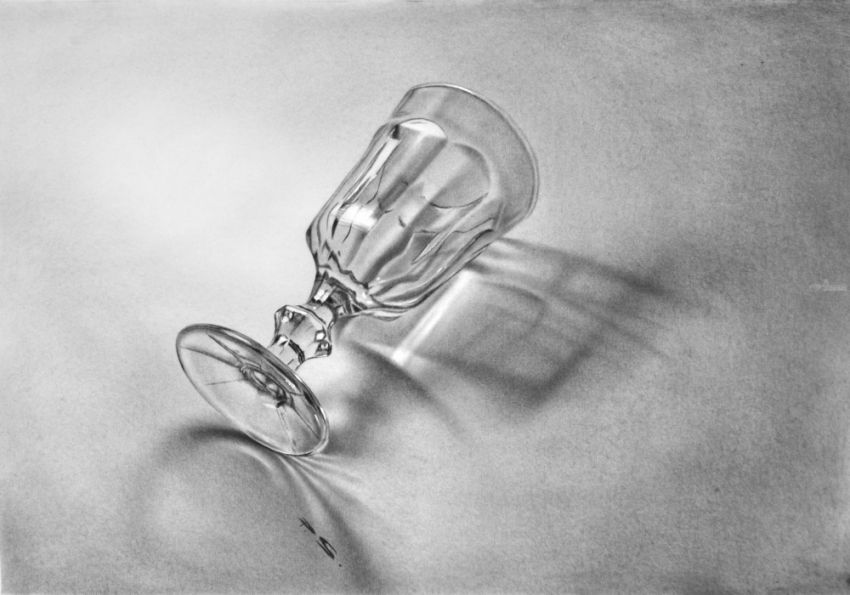 Glass in 3D on Paper, Drawings / Sketch, Realism, 3-D, Oil, By Stefan Pabst