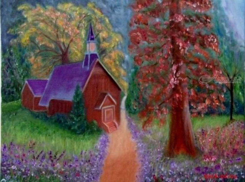 God is Everywhere, Paintings, Fine Art,Impressionism,Realism, Landscape, Canvas,Oil, By Mike Chaple