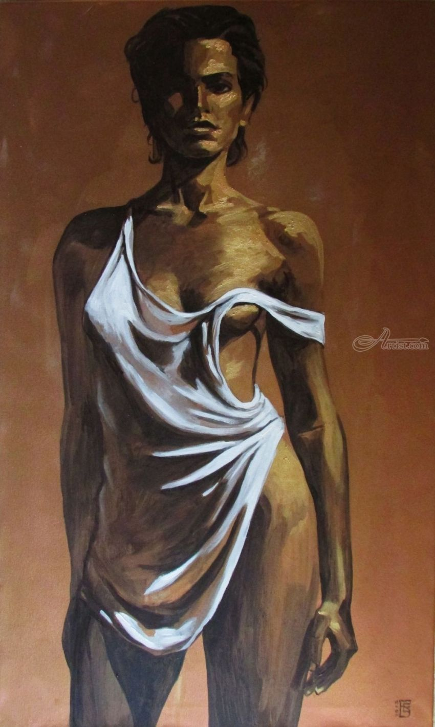 Gold Fever, Paintings, Fine Art,Pop Art,Realism, Erotic,Figurative,Nudes,People, Acrylic,Canvas,Oil, By Kateryna Bortsova