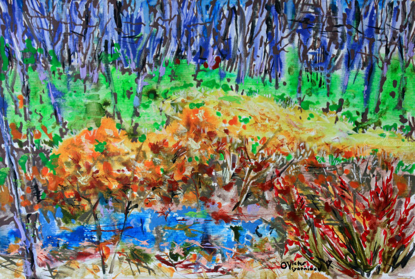Gold spring, Paintings, Expressionism, Landscape, Acrylic, By Victor Ovsyannikov