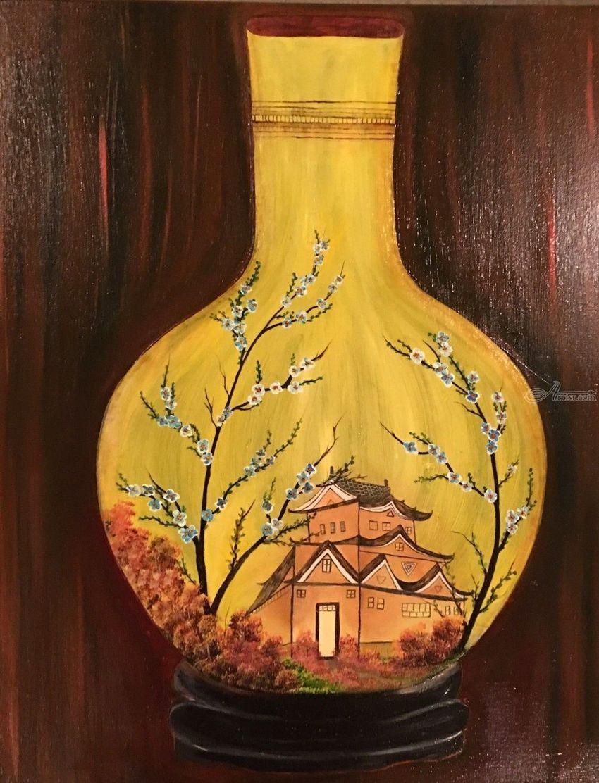 golden vase paintings fine art floral historical land art landscape - Vase Painting