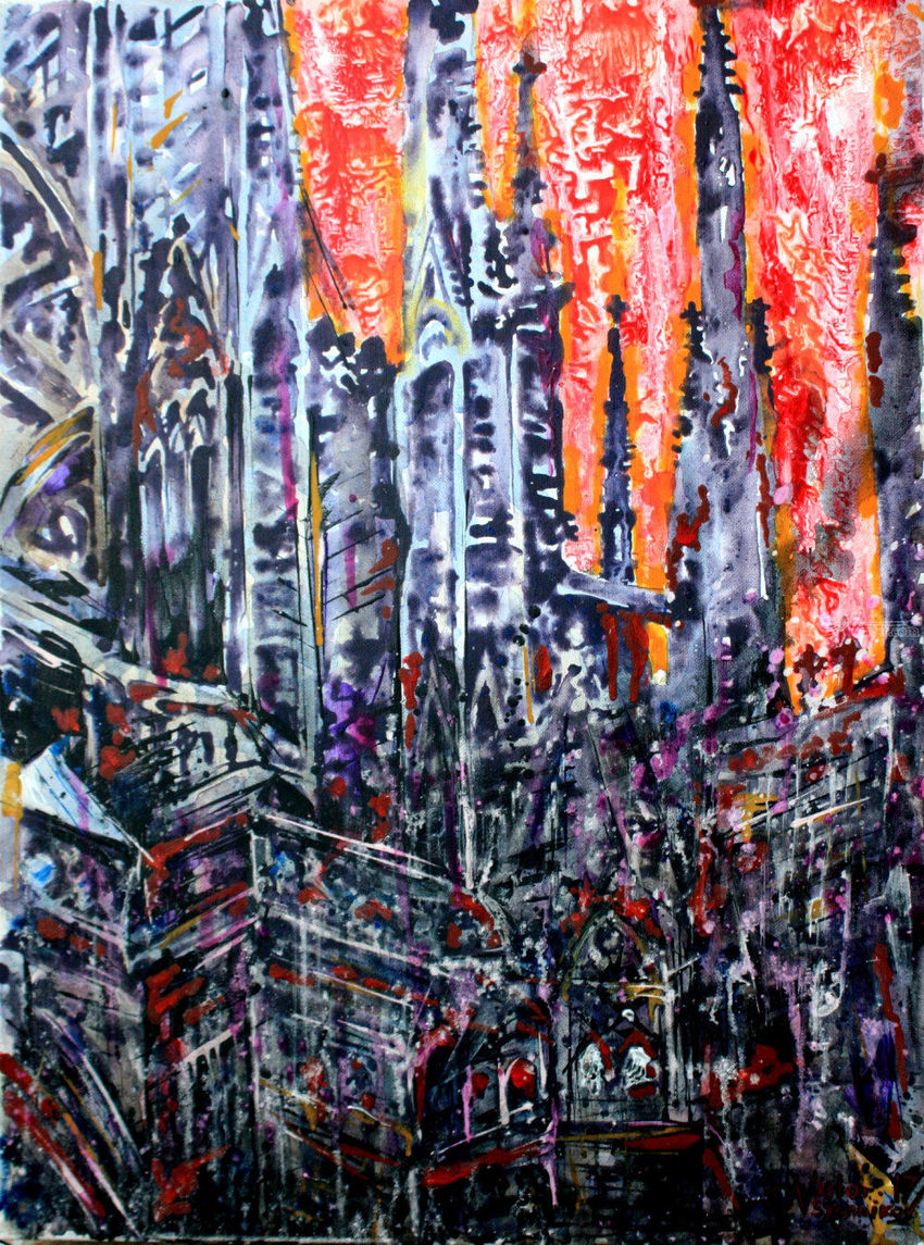 Gothic, Paintings, Expressionism, Architecture, Acrylic, Canvas, By Victor Ovsyannikov