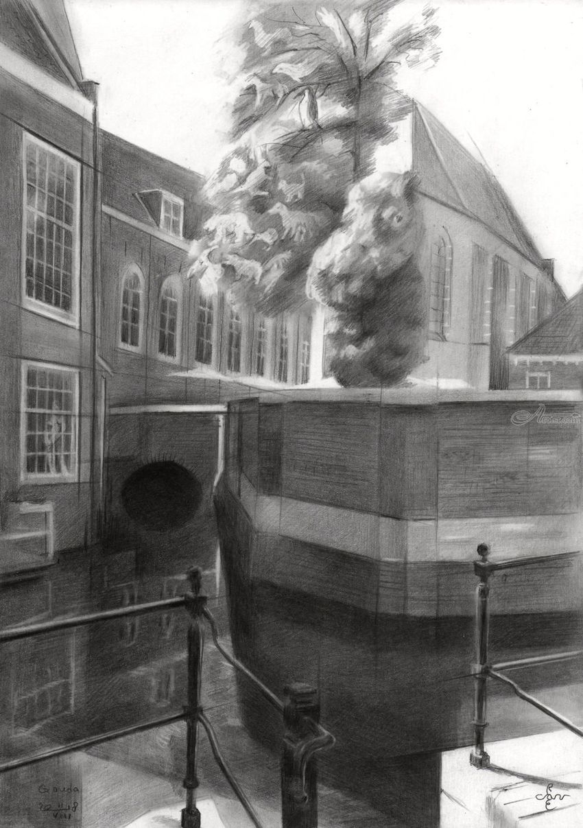 Gouda – 11-08-18, Drawings / Sketch, Fine Art, Impressionism, Realism, Surrealism, Animals, Cityscape, Composition, Historical, Humor, Inspirational, Pencil, By Corne Akkers