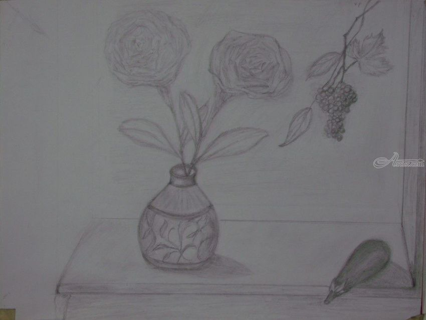 Grapes Roses Vase, Drawings / Sketch, Fine Art,Impressionism,Realism, Still Life, Pencil, By Mike Chaple