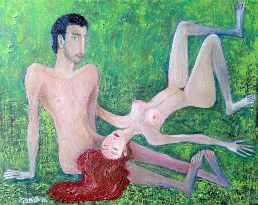 Grassplot, Paintings, Fine Art, Erotic, Canvas, By ZAKIR AHMEDOV