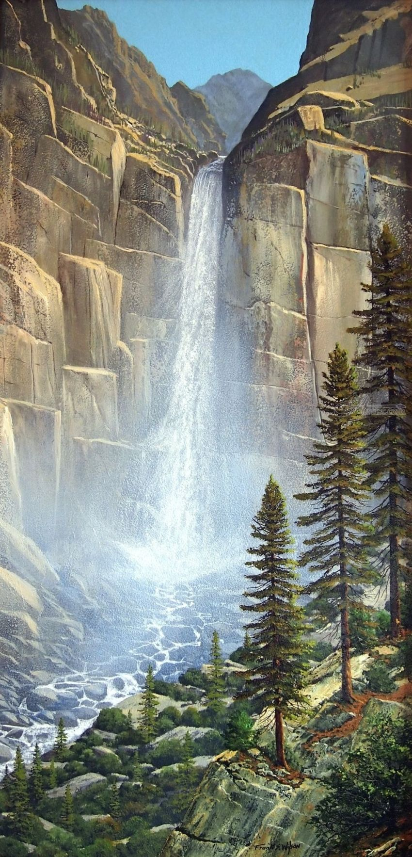 Great Falls, Paintings, Realism, Landscape, Oil, Painting, By Frank S. Wilson