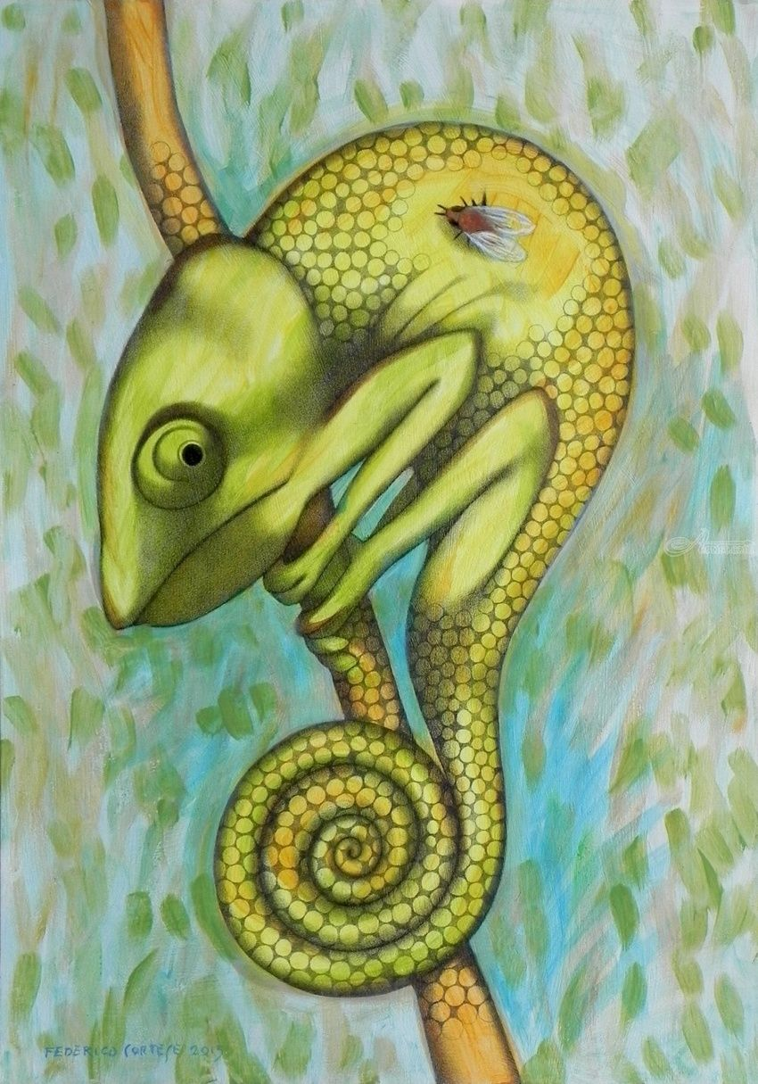 Green chameleon, Decorative Arts, Paintings, Surrealism, Animals, Oil, Pencil, By federico cortese