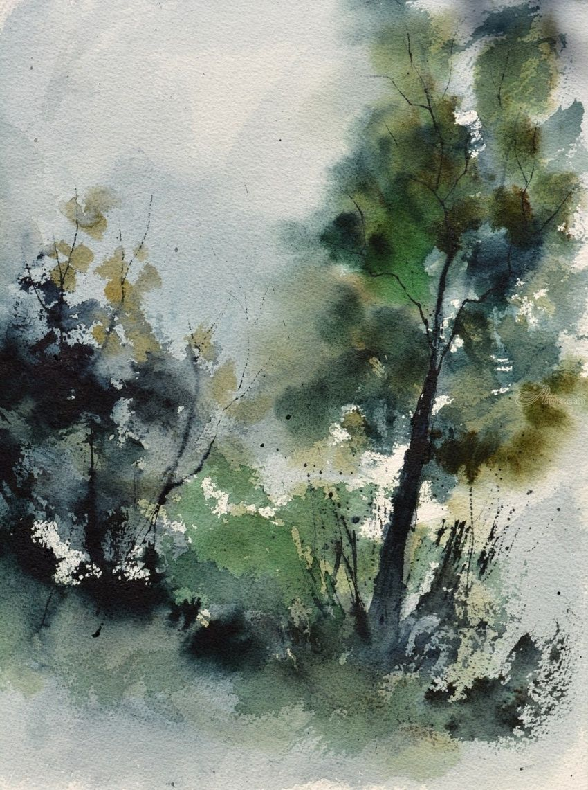 green trees, Paintings, Impressionism, Botanical, Watercolor, By Pol Henry Ledent