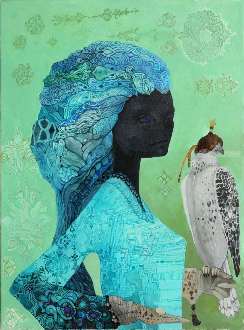 Gyrfalcon, Decorative Arts, Surrealism, Animals, Portrait, Canvas, By olga zelinska