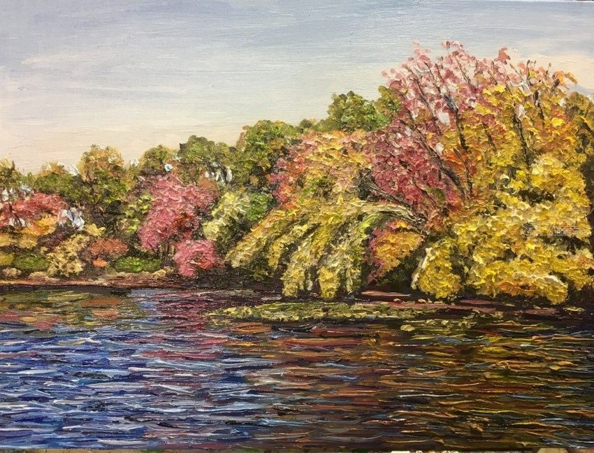 Hampton Ponds Autumn, Paintings, Impressionism, Landscape, Oil,Painting, By Richard John Nowak