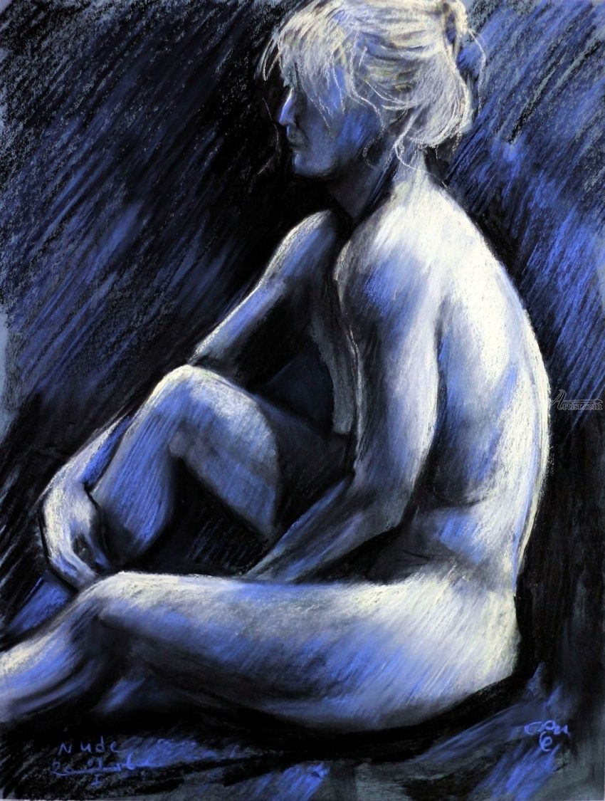 Helene 2 - session 09-01-16, Drawings / Sketch, Fine Art,Impressionism,Realism,Surrealism, Anatomy,Composition,Erotic,Figurative,Inspirational,Nudes, Pastel, By Corne Akkers