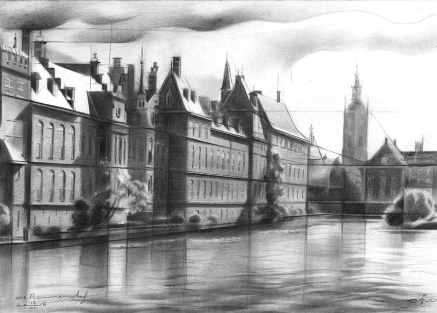 Het Binnenhof (The Inner Court) 17-08-16, Drawings / Sketch, Abstract, Cubism, Fine Art, Impressionism, Realism, Architecture, Cityscape, Composition, Figurative, Historical, Inspirational, Landscape, Pencil, By Corne Akkers
