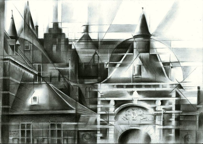 Het Binnenhof (The Inner Court) - 29-10-15, Drawings / Sketch, Abstract, Cubism, Fine Art, Impressionism, Surrealism, Architecture, Cityscape, Composition, Figurative, Inspirational, Pencil, By Corne Akkers