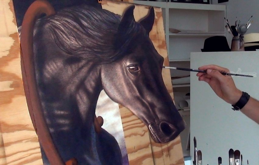Horse in 3D: Amazing, Drawings / Sketch, Realism, 3-D, Oil, By Stefan Pabst