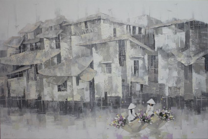 Houses on the river, Paintings, Fine Art,Realism, Architecture,Landscape, Canvas,Oil, By Ninh NguyenVu